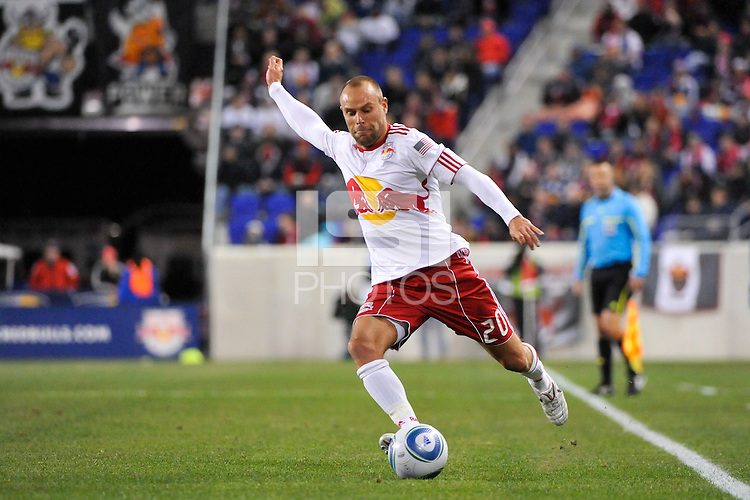 Joel Lindpere (20) of the New York Red Bulls. The New York Red Bulls defeated the Seattle Sounders 1-0 during a Major League Soccer (MLS) match at Red Bull Arena in Harrison, NJ, on March 19, 2011.