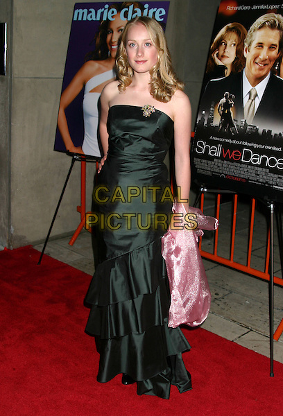 """TAMARA HOPE.""""Shall We Dance?"""" US Premiere, New York City, USA October 5th 2004..full length green strapless dress brooch broach ruffels layers frills.Ref: IW.www.capitalpictures.com.sales@capitalpictures.com.©Capital Pictures."""