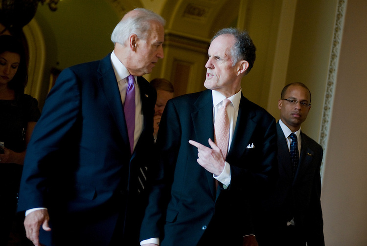 UNITED STATES - JULY 20:  Vice President Joe Biden talks with Sen. Ted Kaufman, D-Del., make their way to a swearing in ceremony for Sen. Carte Goodwin, D-W.V., who replaced the late Robert Byrd.  (Photo By Tom Williams/Roll Call via Getty Images)