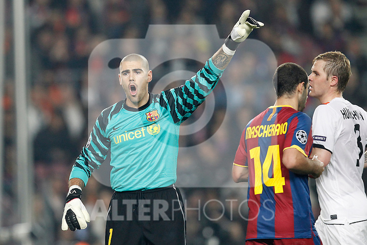 Barcelona's Victor Valdes during Champions League match on April, 6th 2011...Photo: Acero / Cebolla / ALFAQUI