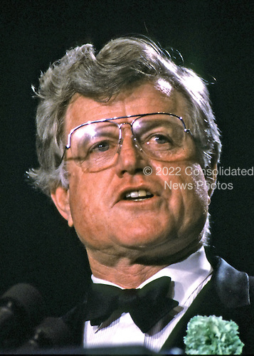 "Washington, DC - (FILE) -- United States Senator Edward M. ""Ted"" Kennedy (Democrat of Massachusetts) makes remarks at a gala for former United States Speaker of the House of Representatives Thomas P. ""Tip"" O'Neill (Democrat of Massachusetts) on March 18, 1986..Credit: Howard L. Sachs / CNP"