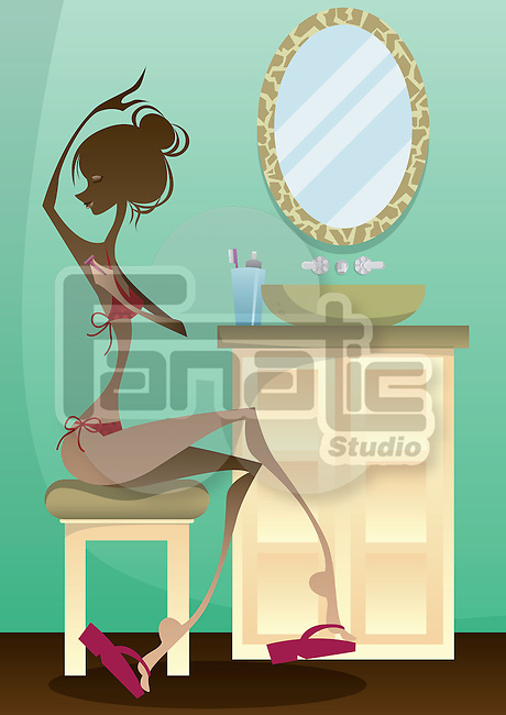 Woman shaving armpits