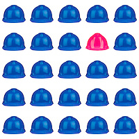 pink helmet surrounded by various blue hardhats