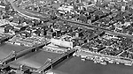 Pittsburgh PA:  Aerial view of two of the sister bridges, 7th and 9th streets and North Side - 1932