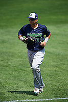 Vermont Lake Monsters right fielder Jhonny Rodriguez (17) jogs to the dugout during a game against the Auburn Doubledays on July 13, 2016 at Falcon Park in Auburn, New York.  Auburn defeated Vermont 8-4.  (Mike Janes/Four Seam Images)