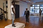 Rehearsal for the Murray West Fall Winter 2016 capsule collection fashion presentation by Jerrell West, in Contra Studios at 122 West 26 Street in New York City, on May 19, 2016.