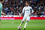 Sergio Ramos of Real Madrid during the match of Spanish La Liga between Real Madrid and Real Betis at  Santiago Bernabeu Stadium in Madrid, Spain. March 12, 2017. (ALTERPHOTOS / Rodrigo Jimenez)