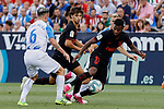 CD Leganes's Roque Mesa and Atletico de Madrid's Joao Felix (L) and Thomas Lemar (R) during La Liga match between CD Leganes and Atletico de Madrid at Butarque Stadium in Madrid, Spain. August 25, 2019. (ALTERPHOTOS/A. Perez Meca)