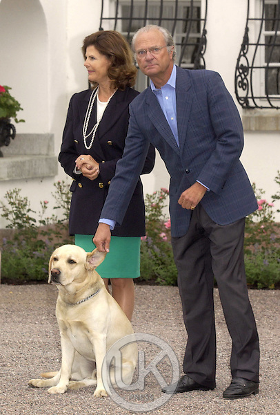 Crown Princess Victoria of Sweden celebrates her 27th birthday at Solliden, near Borgholm, accompanied by King Carl Gustav, Queen Silvia & dog Bingo..