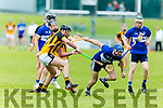 St Brendans John Egan breaks the tackle from Abbeydorney's Kieran Dineen in the Senior Hurling Championship 1st round game in Austin Stack Park on Saturday