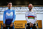 Jurge Arcas and World Champion Alejandro Valverde (ESP) Movistar Team on stage at the media day before the 2018 Saitama Criterium, Japan. 3rd November 2018.<br /> Picture: ASO/Pauline Ballet | Cyclefile<br /> <br /> <br /> All photos usage must carry mandatory copyright credit (&copy; Cyclefile | ASO/Pauline Ballet)