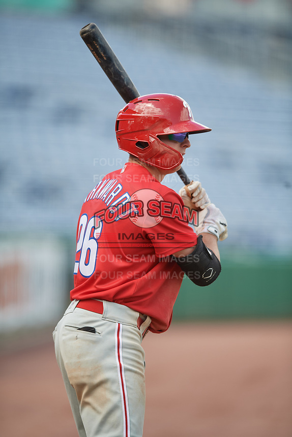 Philadelphia Phillies Hunter Markwardt (26) on deck during an Instructional League game against the Toronto Blue Jays on September 23, 2019 at Spectrum Field in Clearwater, Florida.  (Mike Janes/Four Seam Images)