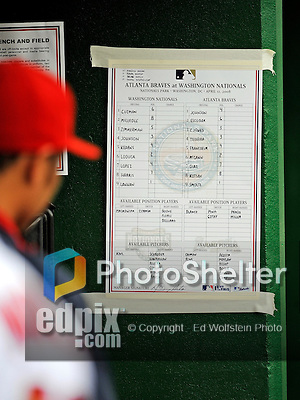 12 April 2008: Washington Nationals' lineup card is posted in the dugout prior to a rain delayed game against the Atlanta Braves at Nationals Park, in Washington, DC. The Braves defeated the Nationals 10-2...Mandatory Photo Credit: Ed Wolfstein Photo