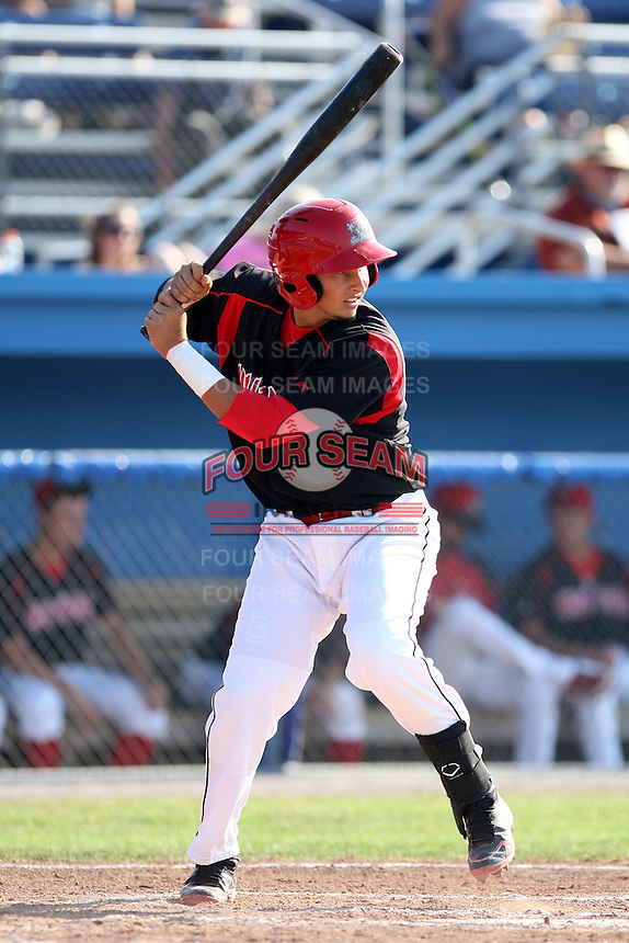 Batavia Muckdogs catcher Juan Castillo #35 during a game against the Auburn Doubledays at Dwyer Stadium on July 17, 2011 in Batavia, New York.  Batavia defeated Auburn 8-3.  (Mike Janes/Four Seam Images)