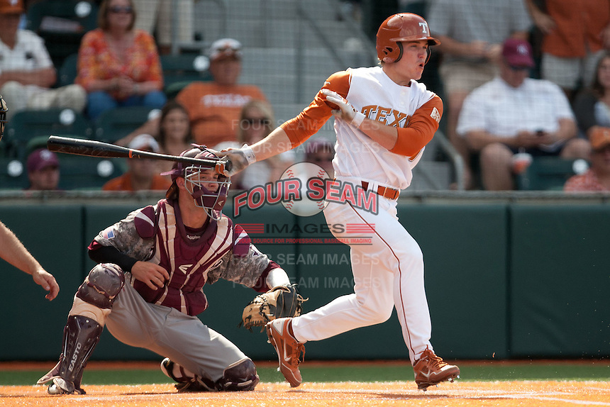 Texas Longhorns second baseman Jordan Etier #7 drives in the winning run in the bottom of the ninth inning during the NCAA baseball game against the Texas A&M Aggies on April 29, 2012 at UFCU Disch-Falk Field in Austin, Texas. The Longhorns beat the Aggies 2-1 in the last ever regular season game scheduled for the long time rivals. (Andrew Woolley / Four Seam Images)