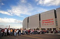 Dec 6, 2009; Glendale, AZ, USA; Fans wait to enter the stadium prior to the game between the Arizona Cardinals and the Minnesota Vikings at University of Phoenix Stadium. Mandatory Credit: Mark J. Rebilas-