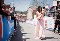 The 'special 100th edition' official pink golden trophy is carried towards the sign-on podium at the stage start in the tiny birth town of Fausto Coppi: Castellania<br /> <br /> 100th Giro d'Italia 2017<br /> Stage 14: Castellania › Oropa (131km)