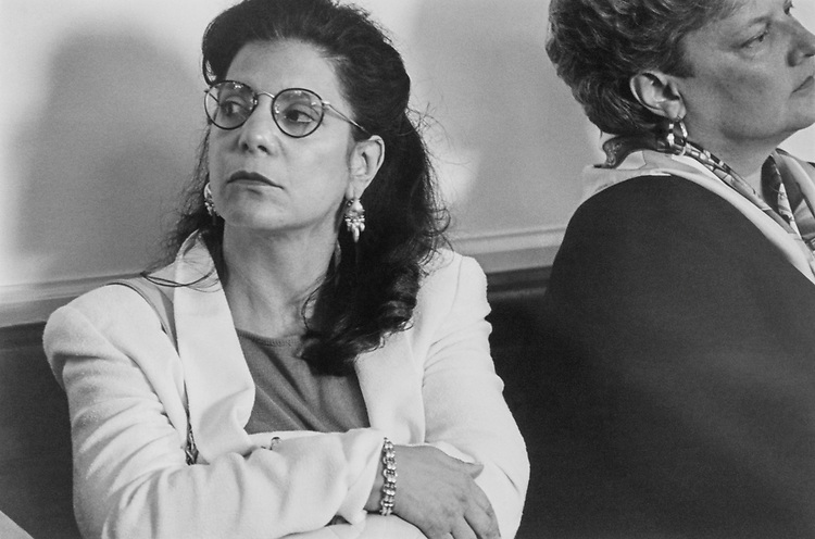 Rhoda Glickman sits in on the House Admin Subcommittee on Office Systems while they discuss LSO's, and thinks on the affect on the Arts Caucus, which she heads. July 27, 1993. (Photo by CQ Roll Call)