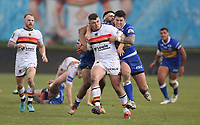 Bradford Bulls's Matty Storton is tackled by Leeds Rhinos' Tom Briscoe and Kallum Watkins <br /> <br /> Photographer Stephen White/CameraSport<br /> <br /> Rugby League - Coral Challenge Cup Sixth Round - Bradford Bulls v Leeds Rhinos - Saturday 11th May 2019 - Provident Stadium - Bradford<br /> <br /> World Copyright &copy; 2019 CameraSport. All rights reserved. 43 Linden Ave. Countesthorpe. Leicester. England. LE8 5PG - Tel: +44 (0 116 277 4147 - admin@camerasport.com - www.camerasport.com
