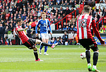 Sheffield United's Daniel Lafferty scoring his sides third goal during the League One match at Bramall Lane, Sheffield. Picture date: April 30th, 2017. Pic David Klein/Sportimage