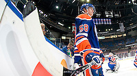 EDMONTON, CANADA - JANUARY 20: Jeff Petry #58 of the Edmonton Oilers watches warm-up before a game against the Dallas Stars at Rexall Place on January 20, 2011 in Edmonton, Alberta, Canada.  (Photo by Andy Devlin/NHLI via Getty Images) *** LOCAL CAPTION *** Jeff Petry