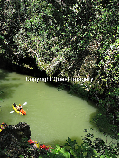 Cave Tubing at the Caves Branch, Nohoch Chi'en, National Park on the Sibun River in Belize.  Deep   into the rainforest of the Mayan Mountains in central Belize.  <br />