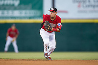Hickory Crawdads second baseman Carlos Arroyo (25) on defense against the Savannah Sand Gnats at L.P. Frans Stadium on June 15, 2015 in Hickory, North Carolina.  The Crawdads defeated the Sand Gnats 4-1.  (Brian Westerholt/Four Seam Images)