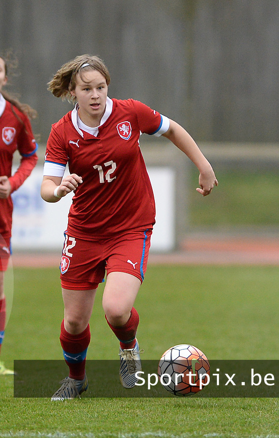 20160319 - FLERS , FRANCE : Czech Adela Radova pictured during the soccer match between the women under 17 teams of  France and the Czech Republic , on the first matchday in group 3 of the UEFA Women Under17 Elite rounds at Stade du Haze in Flers , France . Saturday 19th March 2016 . PHOTO DAVID CATRY