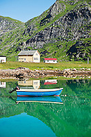 Boat moored in harbour, Vindstad, Lofoten islands, Norway