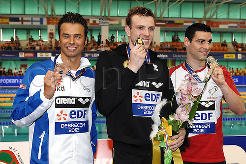 21.05.2012.  Debrecen Hungary. Samuel Pizzetti Italy 400m Freestyle Medals ceremony European Swimming Championships