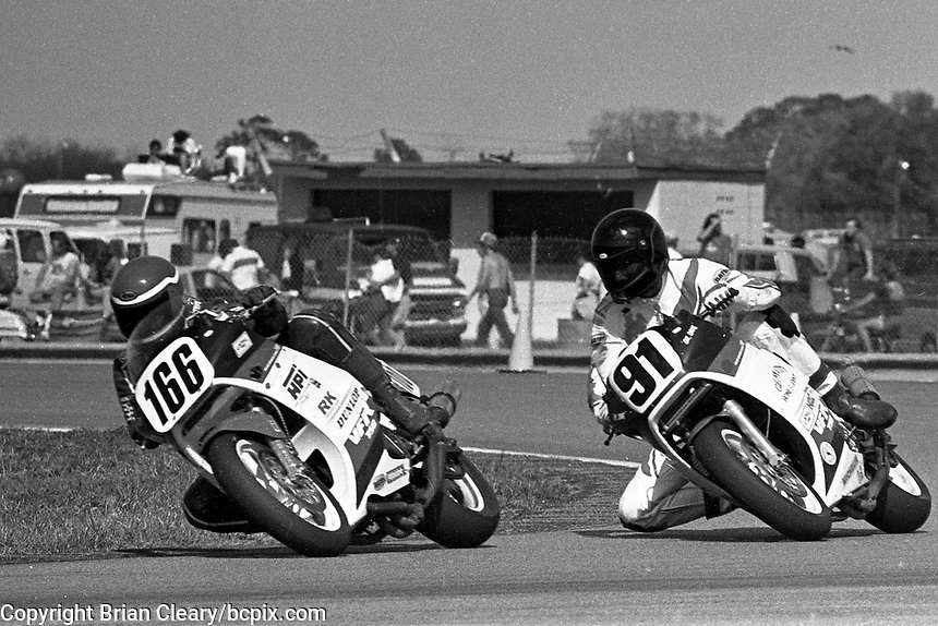 Try Westby (#166 Honda), David Keifer (#91 Honda), Daytona 200, Daytona International Speedway, March 8, 1987.  (Photo by Brian Cleary/bcpix.com)
