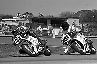 Try Westby (#166 Honda), David Keifer (#91 Honda), Daytona 200, Daytona International Speedway, March 8, 1987.  (Photo by Brian Cleary/bcpix.com)