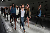 London, UK. 13 September 2014. Models walk the runway at the rehearsal to the Jasper Conran show at London Fashion Week SS15 at the BFC Courtyard Show Space in London, England. Photo: CatwalkFashion/Alamy Live News