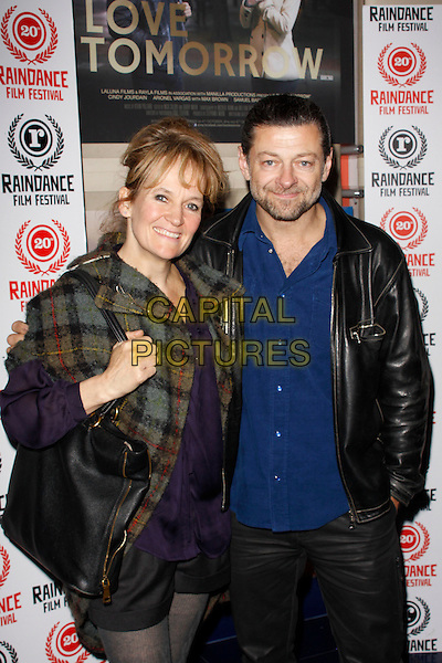 Lorraine Ashbourne and Andy Serkis.'Love Tomorrow' - World film premiere at Raindance Film Festival, Apollo Cinema, London, England. .October 4th, 2012.half length black jacket grey gray check tweed leather jacket blue shirt married husband wife stubble beard facial hair.CAP/AH.©Adam Houghton/Capital Pictures.