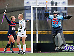 EASTON, MA - NOVEMBER 20:  Goalkeeper Ally Mooney (55) of Shippensburg University and Rachel Moore (16) of Shippensburg University celebrate as the game ends as Tarry Morris (73) of LIU Post walks away during the NCAA Division II Field Hockey Championship at WB Mason Stadium on November 20, 2016 in Easton, Massachusetts.  Shippensburg University defeated LIU Post 2-1 for the national title. (Photo by Winslow Townson/NCAA Photos via Getty Images)