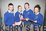 Leaving Certificate students Patrick Lane(Abbeyfeale), Tracey Mulvihill(Athea), Adrian Enright(Abbeyfeale) and Tara Finnucane(Knockanure) after sitting their first exam last Wednesday in Coláiste Íde agus Iosef, Abbeyfeale.
