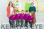First day of school for Junior Infants at the Two Mile NS. Pictured are l-r Katie McCarthy, Oisin Fleming, Noah McCarthy, Adam Selmi and Hazel Culloty with Sharon McCarthy (formal pre school teacher) and Stephanie Thornton (teacher).