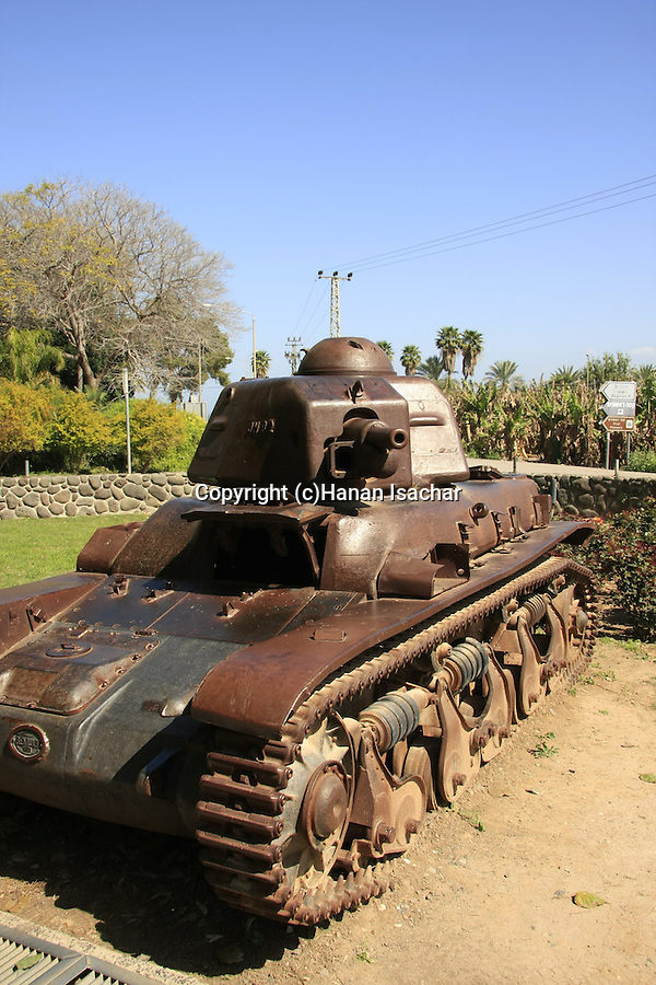 Israel, Sea of Galilee. Renault tank stopped at the gate of Kibbutz Degania Alef in 1948