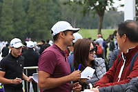 Joakim Lagergren (SWE) and Julian Suri (USA) signing autographs and posing for photo's after Round 3 of the UBS Hong Kong Open, at Hong Kong golf club, Fanling, Hong Kong. 25/11/2017<br /> Picture: Golffile | Thos Caffrey<br /> <br /> <br /> All photo usage must carry mandatory copyright credit     (&copy; Golffile | Thos Caffrey)