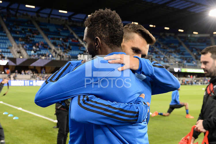 San Jose, CA - Saturday, March 04, 2017: Chris Wondolowski, Shaun Francis prior to a Major League Soccer (MLS) match between the San Jose Earthquakes and the Montreal Impact at Avaya Stadium.
