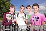 Luke Dalton, Ryan O'Halloran, Jack Kelliher and Darren Bastible from Mercy Mounthawk secondary who sat their first Junior Cert. exam on Wednesday morning.
