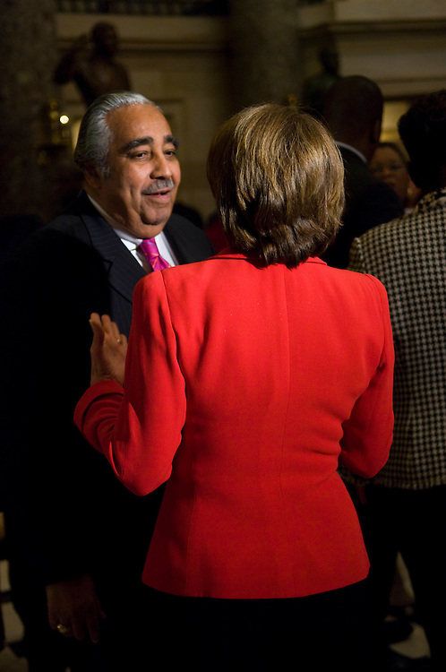 WASHINGTON, DC - Sept. 25: House Speaker Nancy Pelosi, D-Calif., with House Ways and Means Chairman Charles B. Rangel, D-N.Y., during a reception at the U.S. Capitol honoring members of the Congressional Black Caucus.(Photo by Scott J. Ferrell/Congressional Quarterly).