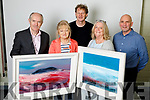 Ger Colloran, editor Kerry's Eye, Mary Fleming, Inch  and Aeda Sugrue, Tralee winners of the Kerry's Eye, John Hurley painting competition, pictured with artist John Hurley and Brendan Kennelly Marketing Manager, Kerry's Eye.