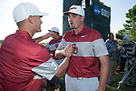 SUGAR GROVE, IL - MAY 31: Max McGreevy and Quade Cummins of the University of Oklahoma celebrate their victory during the Division I Men's Golf Team Championship held at Rich Harvest Farms on May 31, 2017 in Sugar Grove, Illinois. Oklahoma won the team national title. (Photo by Jamie Schwaberow/NCAA Photos via Getty Images)