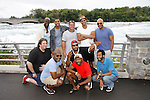 Cast Members Black Angels Over Tuskegee - Back: David Roberts, Jeantique Oriol, Craig Colasanti, Delano Barbosa, Melvin Huffnagle. Front: Mitch Ost (lighting), Layon Gray, Thaddeus Daniels, Lamar Cheston, Nilton Emilio (stage manager) visit Niagara Falls - this photo on the American side of the falls on September 8, 2015. (Photo by Sue Coflin/Max Photos)