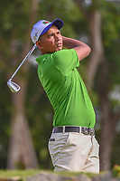 Md Shahab UDDIN (BAN) watches his tee shot on 4 during Rd 1 of the Asia-Pacific Amateur Championship, Sentosa Golf Club, Singapore. 10/4/2018.<br /> Picture: Golffile | Ken Murray<br /> <br /> <br /> All photo usage must carry mandatory copyright credit (&copy; Golffile | Ken Murray)