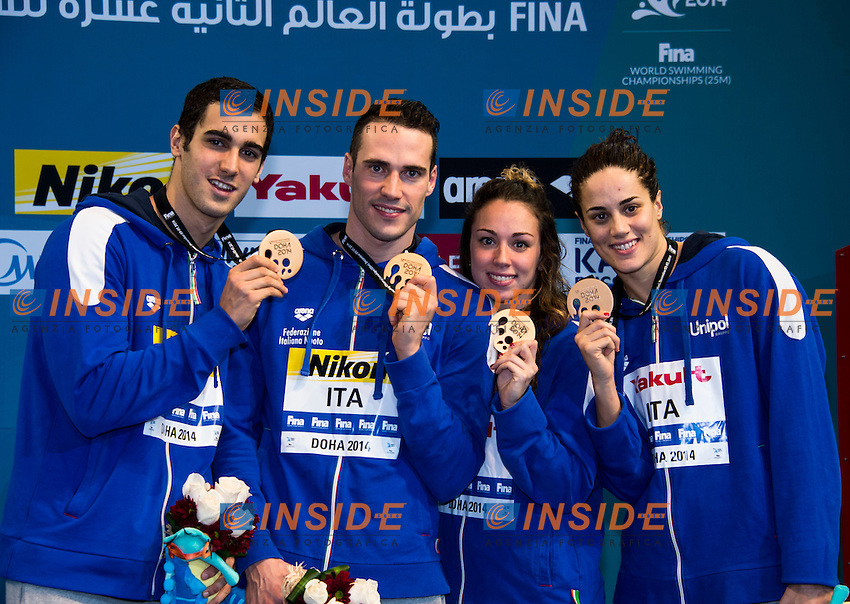 Brasil Gold Medal <br /> Great Britain Silver Medal<br /> Italy Bronze Medal<br /> Mixed 4x50m Medley Relay<br /> Doha Qatar 04-12-2014 Hamad Aquatic Centre, 12th FINA World Swimming Championships (25m). Nuoto Campionati mondiali di nuoto in vasca corta.<br /> Photo Giorgio Scala/Deepbluemedia/Insidefoto