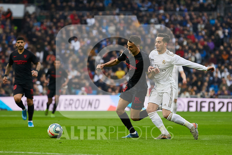 Lucas Vazquez of Real Madrid and Sergio Reguilon of Sevilla FC during La Liga match between Real Madrid and Sevilla FC at Santiago Bernabeu Stadium in Madrid, Spain. January 18, 2020. (ALTERPHOTOS/A. Perez Meca)