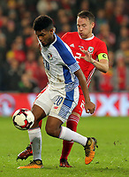 (L-R) Ricardo Avila of Panama challenged by Chris Gunter of Wales during the international friendly soccer match between Wales and Panama at Cardiff City Stadium, Cardiff, Wales, UK. Tuesday 14 November 2017.
