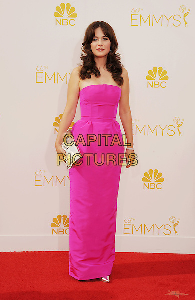 LOS ANGELES, CA- AUGUST 25: Actress Zooey Deschanel arrives at the 66th Annual Primetime Emmy Awards at Nokia Theatre L.A. Live on August 25, 2014 in Los Angeles, California.<br /> CAP/ROT/TM<br /> &copy;Tony Michaels/Roth Stock/Capital Pictures